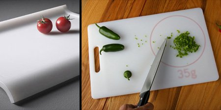 Weight-measuring chopping board
