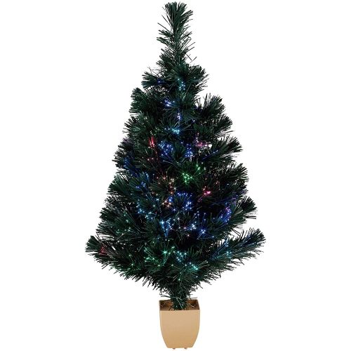 "Holiday Time 32"" Green Fiber Optic Color-Changing Artificial Christmas Tree"